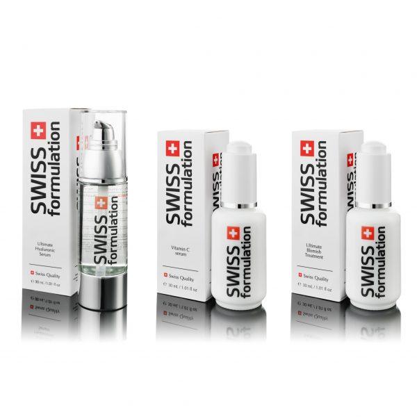 Swiss Formulation - Ultimate Hyaluronic Serum + Vitamin C Serum + Ultimate Blemish Treatment